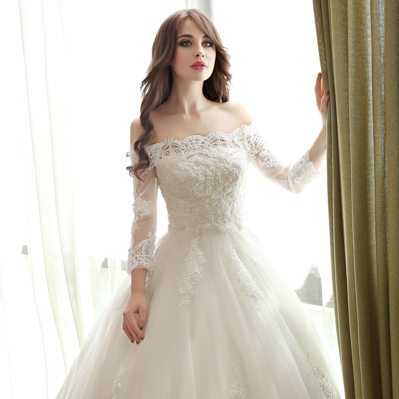 Hem A Lace Wedding Dress : Off shoulder wedding dresses without tail lace sleeves hem
