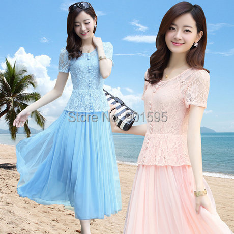 M-XXL Summer 2014 new women plus size short-sleeved lace dress was thin breathable short-sleeved blue dress girl dress N018 Одежда и ак�е��уары<br><br><br>Aliexpress