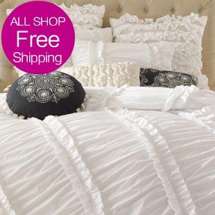 White/Pink/Purple Ruffle Duvet Cover Bedding Set,Luxury Princess Lace Ruffle Bedding Set,Twin~King Ruffle Bedding(China (Mainland))
