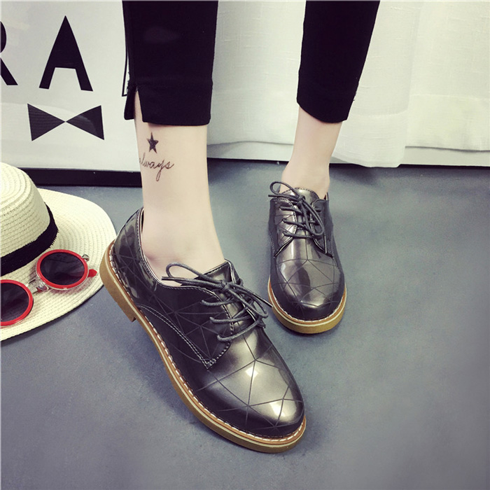 Spring 2016 New Fashion Lace Up Flats Women Shoes British Retro Woman Oxford Casual Leather Shoes Platform Black Zapatos Mujer