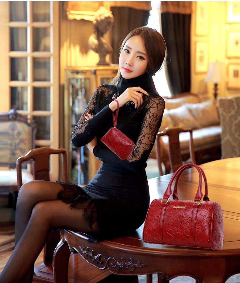 6 pcs/set Bunga Pola Wanita Tas Fashion Tas Tote Bags Messenger Purse Dompet Clutch Bolsas gratis pengiriman