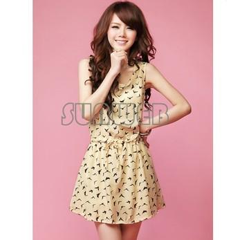 2014 New Women's Dress Bird Animal Print Crew Neck Casual sleeveless Chiffon Dress Sundress free shipping 22