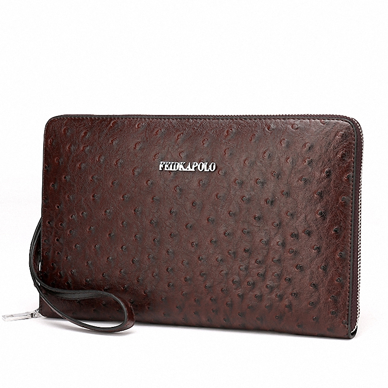 Men's Ostrich Leather Purse Luxury Brand Wallets Men Clutch Handy Bags Monederos Business Card holder Carteras Hombre Billeteras(China (Mainland))
