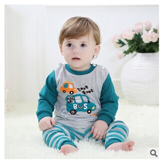 Autumn new children's clothing infant suit cartoon car long-sleeved cotton shoulder button 0-2 year age  -  balabala11 store