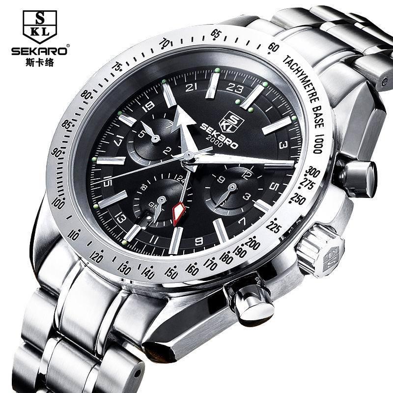 Sekaro fully-automatic mechanical watch male stainless steel 100m waterproof sapphire luminous wristwatches - Cadisen store