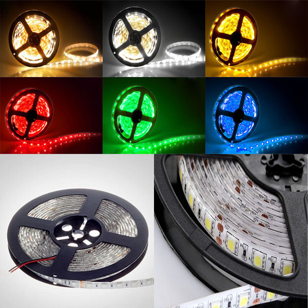 24V LED Strip Waterproof no waterproof 5m/lot Fiexible LED Strip SMD 5050 60Led/M RGB/Warm White/White/Red/Blue,extra bright<br><br>Aliexpress