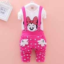 New 2015 Autumn baby girls clothing sets Minnie Mouse Toddler girl clothing Long sleeve t shirt+Overalls Kids child cothes suit