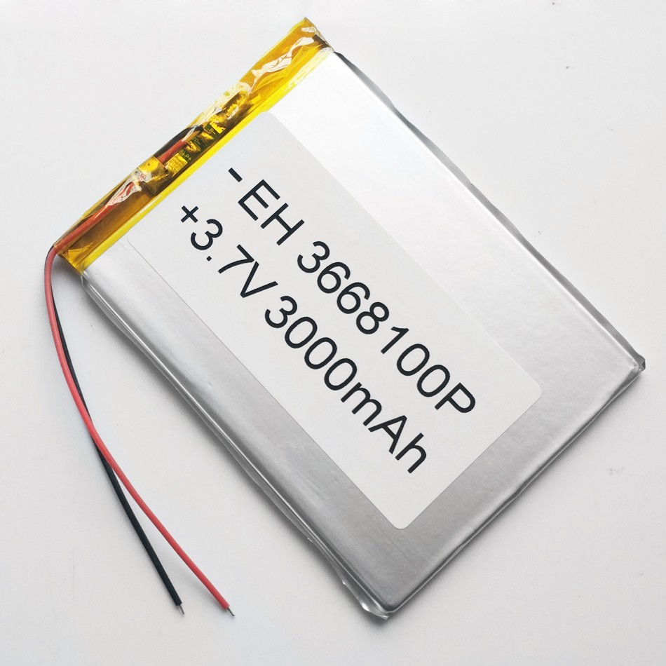 3.7V 3000mAh 3668100 Polymer Lithium Li-Po Rechargeable Battery For DIY Mp3 GPS PSP e-books power bank Tablet PC mobile phone