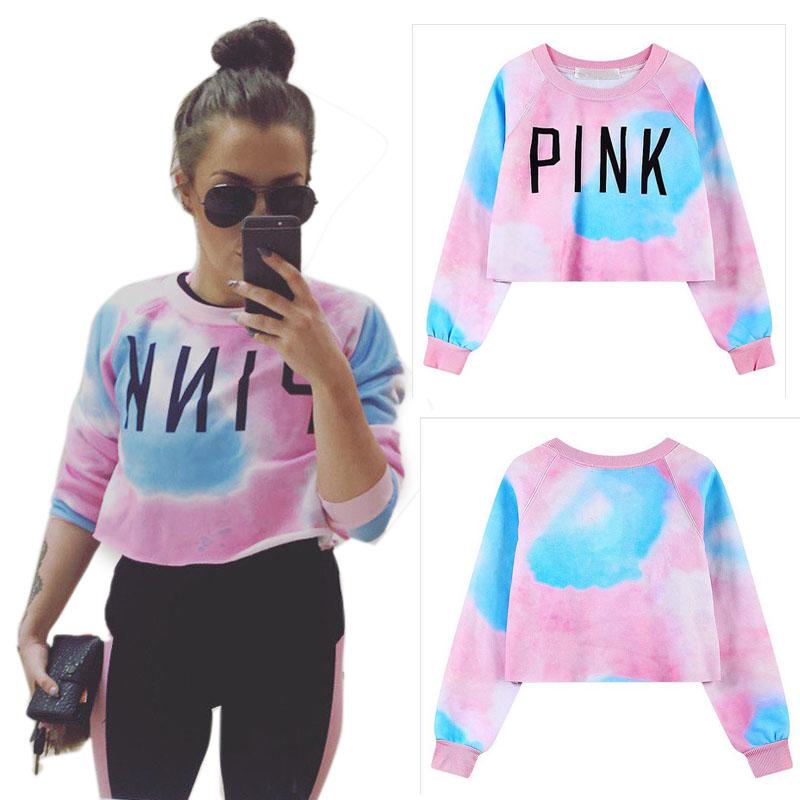 uk hot new pullover love light pink hoodie kawaii clothes style letter print thin sweatshirt women short top hoodie grunge shirt(China (Mainland))