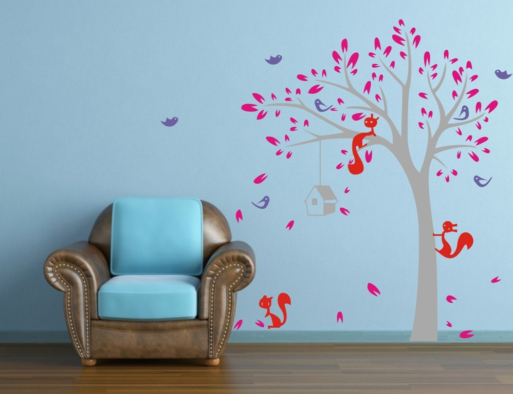 Jungle Tree Birds Fox 1 9m High Wall Sticker Home Decal Vinyl Wall Decor Wall Art Mural Room