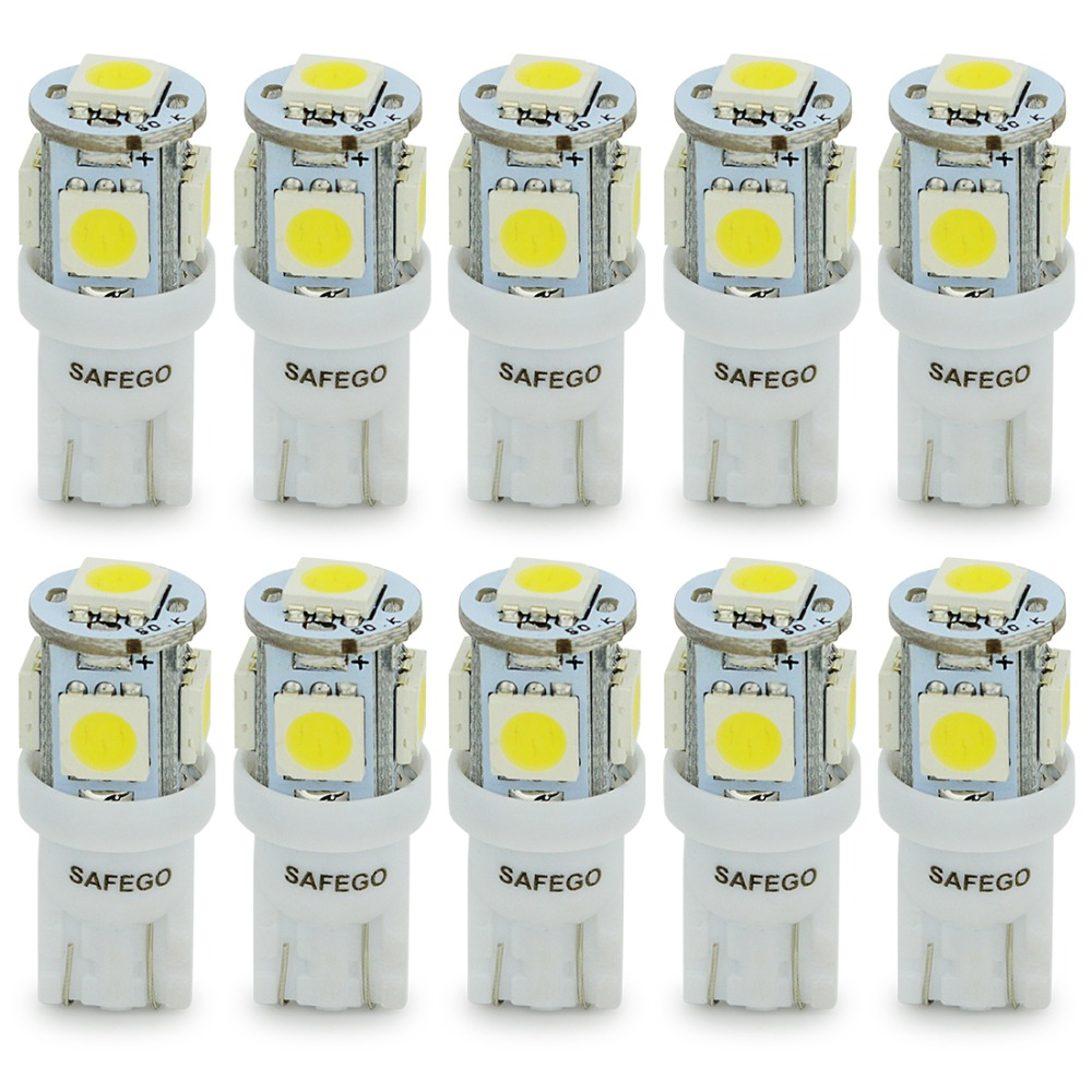 10pcs free shipping supper xenon white car bulbs 168 192 led t10 5 smd 5050 5smd Wedge Light lamp(China (Mainland))