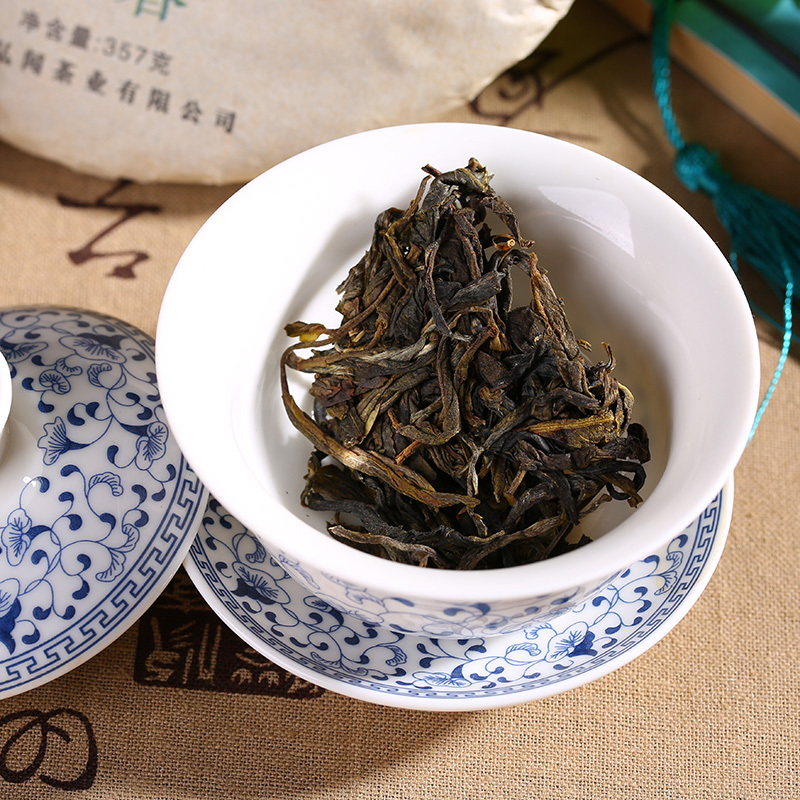 Yunnan menghai puer tea 357g raw pu er tea cake green food chinese sheng cha puerh