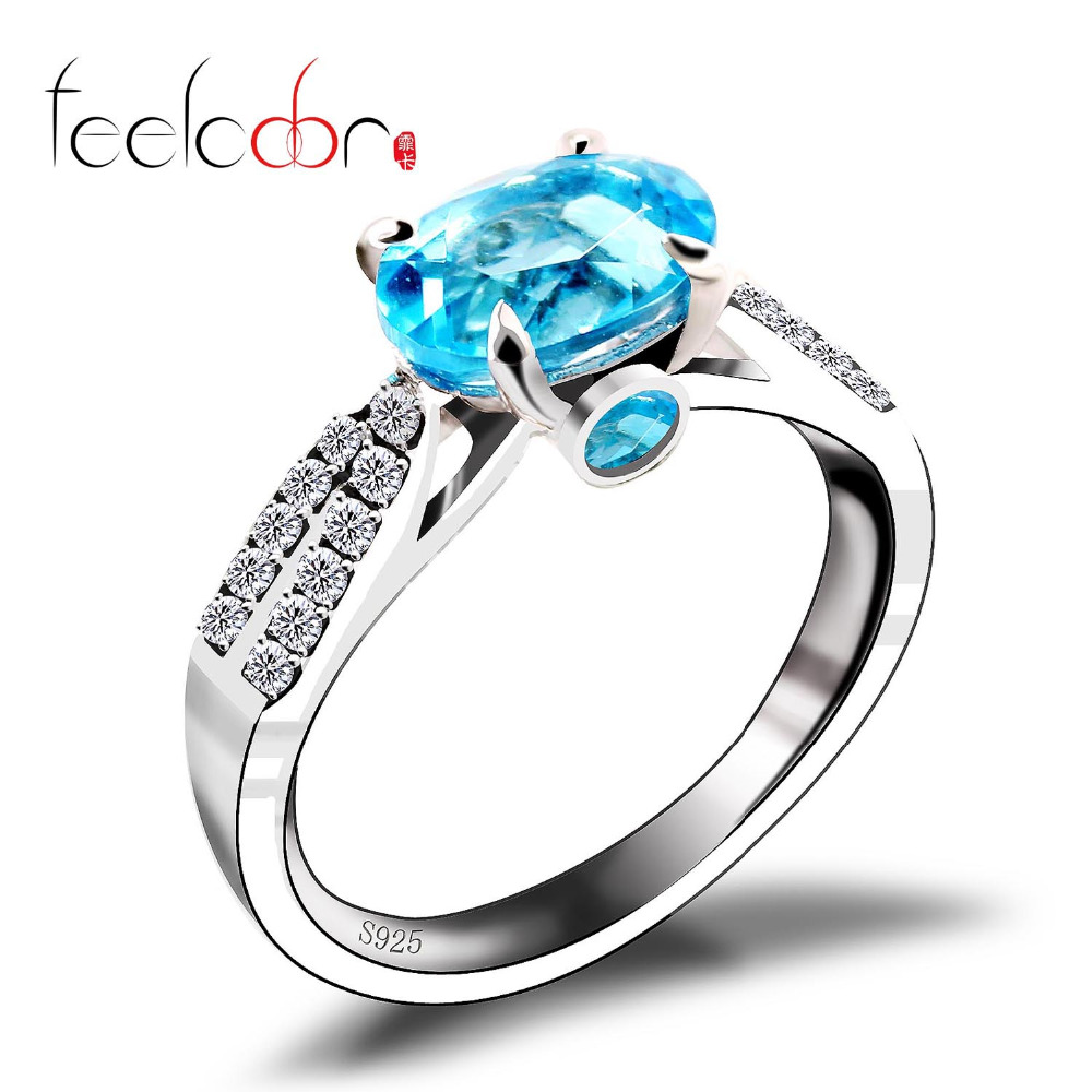 New Arrival Oval Natural stone Blue Topaz Engagement Wedding Halo Ring For Women Pure Solid 925 Sterling Silver Fine Jewelry<br><br>Aliexpress