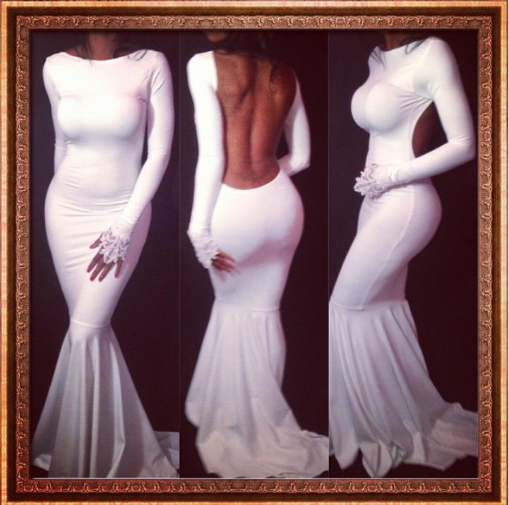 The new 2014 autumn sales fishtail supernova elegant white dress sexy halter women clothing Bulk Wholesale and retail(China (Mainland))