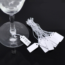200PCs White 22x13mm Craft Jewelry Strung Pricing Price Tags with String Silver Merchandise Cloth Label Tags(China (Mainland))