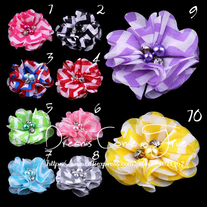 """200pcs/lot-2""""-10Colors-NEW HOT Colorful Rhinestone Fabric Flowers For Baby Girls Headwear Plaid Fabric Flowers With Alloy Button(China (Mainland))"""