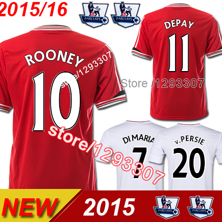 2015 16 Top Thai Best Quality United Red Home Customize DIY Rooney Di Maria Depay Soccer Jersey Men Sports Shirt Football Kit(China (Mainland))