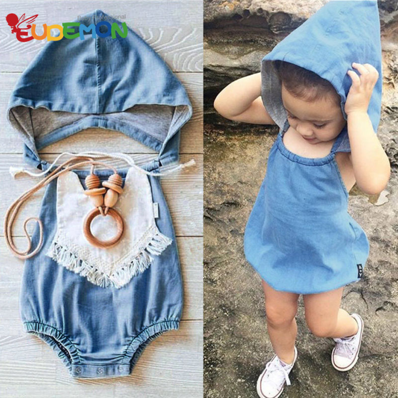 [Eudemon] baby girl clothes fashion summer kids clothes Hooded Jeans girls clothes Toddler Girl Clothing Set Infant Clothes(China (Mainland))