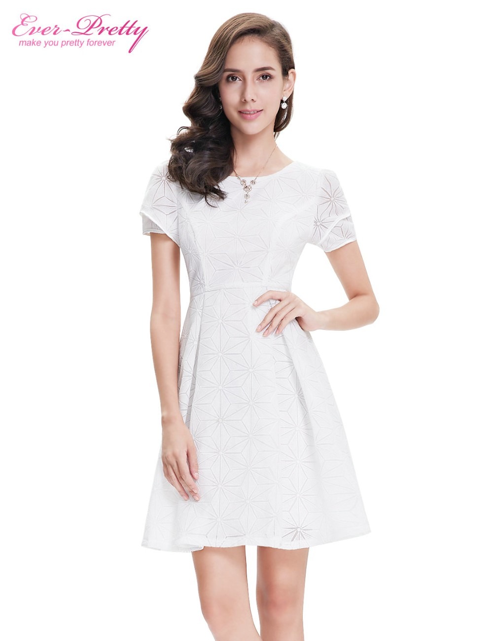 Когда-либо Довольно Homecoming Платья AP05323WH Милые Мода Белый Шею С Коротким Рукавом Платья 2016 Новое Прибытие