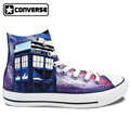 Hand Painted Shoes Men Women Converse All Star Police Box Galaxy High Top Canvas Sneakers Woman