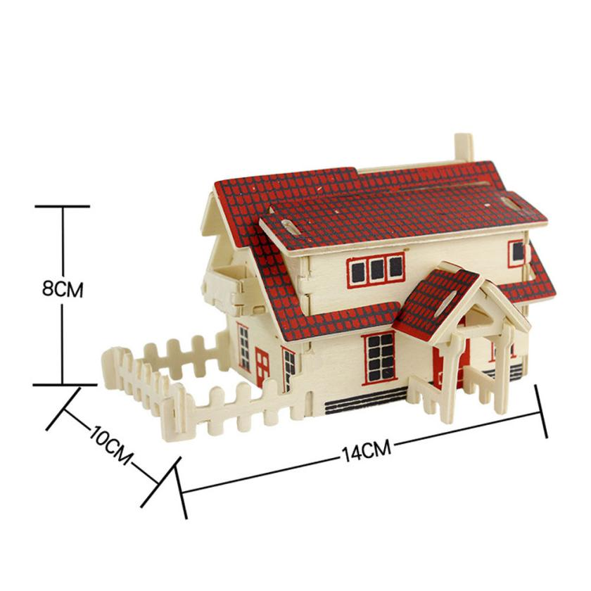 Modern DIY European house 3d jigsaw puzzle toys wooden adult children's intelligence toys Feb29(China (Mainland))