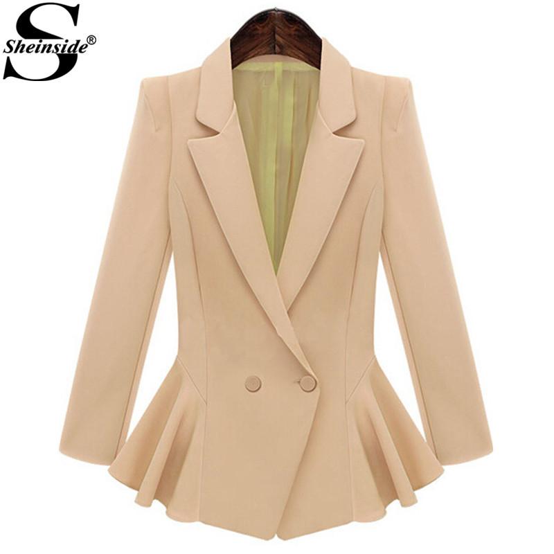 Sheinside Women Formal Autumn Fashion Model New Arrival Office Coat Ropa Mujer Brand Pink Notch Lapel Ruffle Flare Hem BlazerОдежда и ак�е��уары<br><br><br>Aliexpress