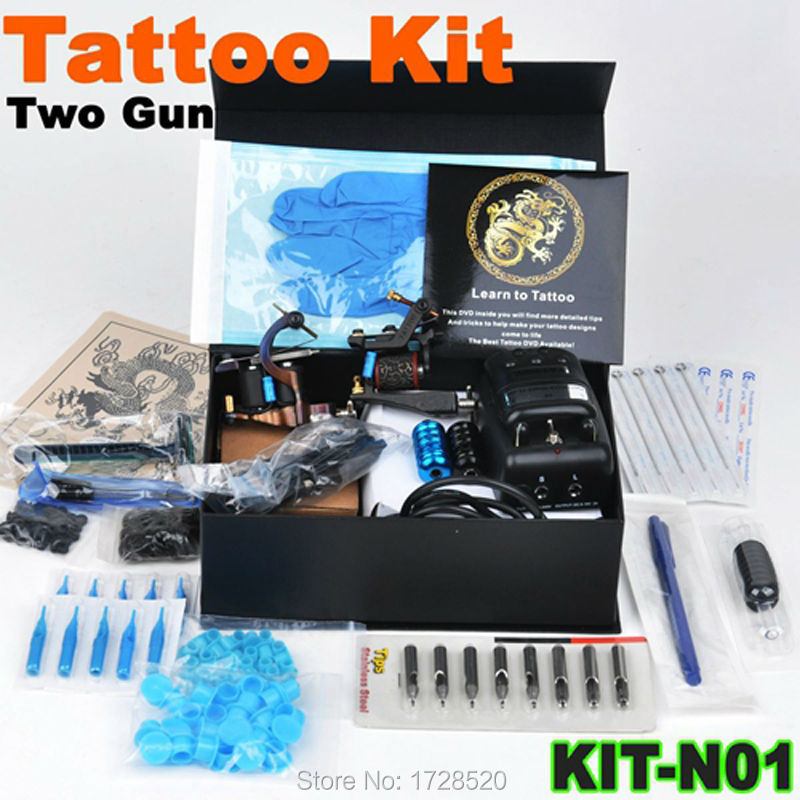 Professional tattoo kit + 2 pcs  Professional  guns machines+ LCD Power Supply+Tattoo Accessories<br><br>Aliexpress