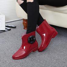 Frauen Blume Bowtie Frühling Ankle Boot Winter Regen Stiefel Weibliche Wasserdichte Feste Gummi Plattform Baby Regen Schuhe Damen Schuhe(China)