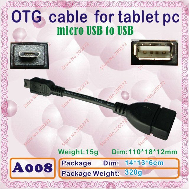 20pcs [A008] micro USB to USB;OTG cable or line,OTG plug for tablet pc;use for Romas w30,x10;sanei N90;U30GT,novo10 hero