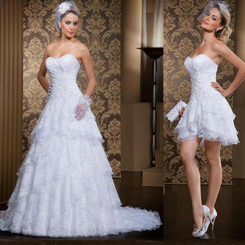 Zz412 свадебное платье 2016 люкс Sleevelss съемная поезд длиной до пола - линии свадебное платье vestidos novia