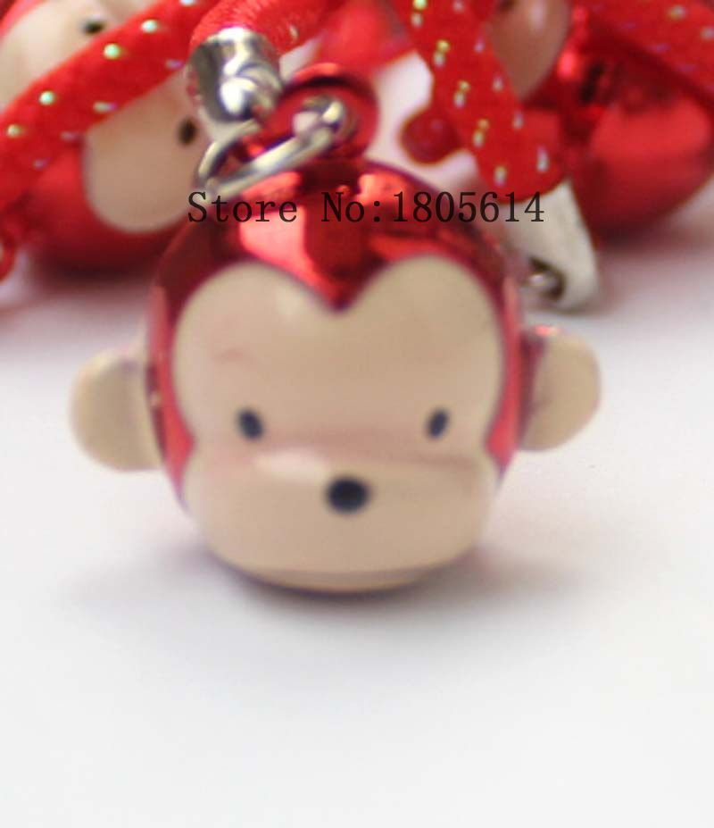 phone Decoration 500 pcs red Monkey Shape Copper Jingle Bells cute Bells lanyard Festival/Party Decoration(China (Mainland))