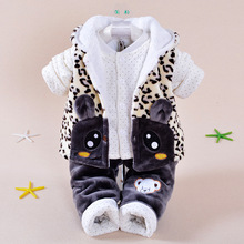 Winter Baby coat Clothing Set Velvet Girl Character Suit Coat T-Shirt Pants Kids Baby Set Wear Baby jacket  Boy Clothing Set