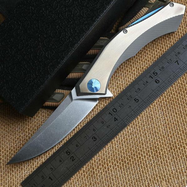 Shirogorov poluchetkiy Wild boar custom made titanium D2 camp hunt outdoors survival tactical folding pocket knife bearing tools(China (Mainland))