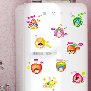 Kids Children room kitchen refrigerator stickers cartoon fruit  wall stickers,free shipping
