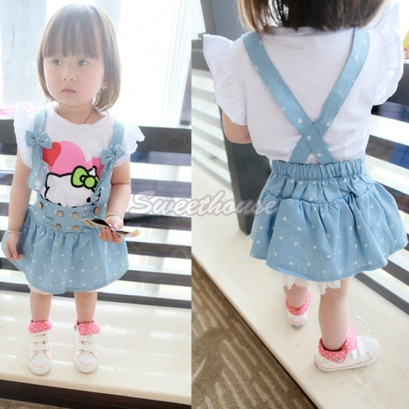 Cheapest Summer Kids Clothes Girl's Net Yarn Bow Strap Skirt Baby Girl High Waist Bubble Tutu Skirts 2-6Y 36(China (Mainland))