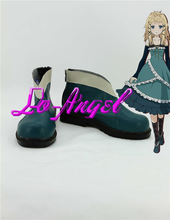 Anime Black Bullet Tina Sprout Cosplay Party Shoes Green Boots Customized Size(China (Mainland))