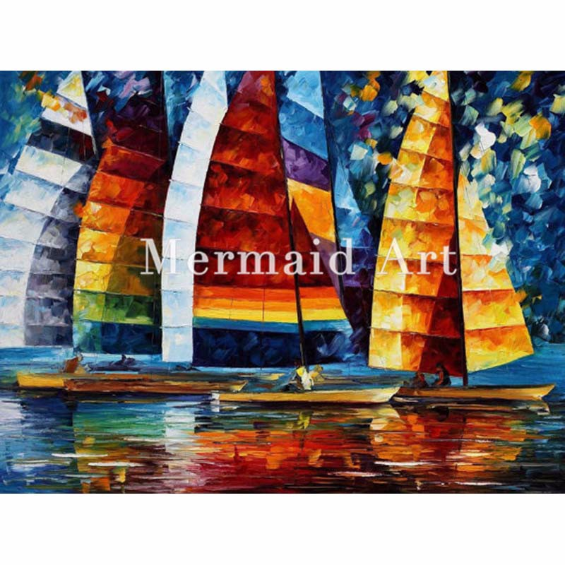 Buy hand painted Modern Artwork of Landscape Sea Regatta Palette knife thick Art canvens Oil Painting Wall Decor Fine Art cheap
