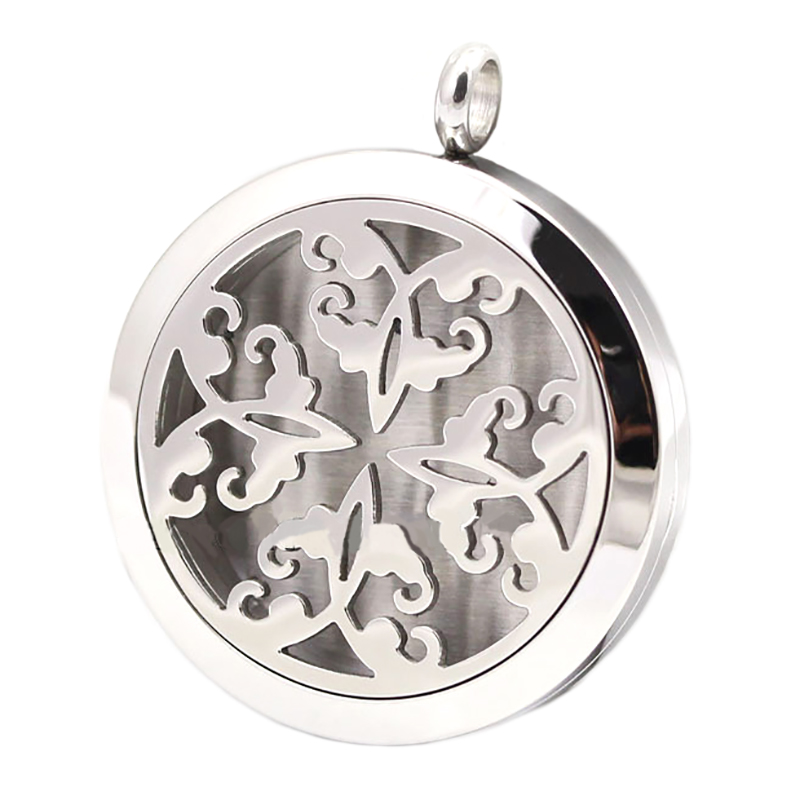 10pcs Round Silver Butterfly 30mm Aromatherapy Essential Oils Stainless Steel Perfume Diffuser Locket Necklace<br><br>Aliexpress