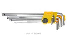 9 unids aleación CR-V Extra Long Arm Point bola juego de llaves hexagonales ( 1.5, 2,2. 5,3, 4,5, 6,8, 10 mm ) envío gratuito