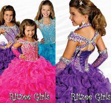 Niñas vestidos del desfile de moda vestido de bola cristal / rhinestone Organza moldeado : lujo vestidos niña con correas brillante(China (Mainland))