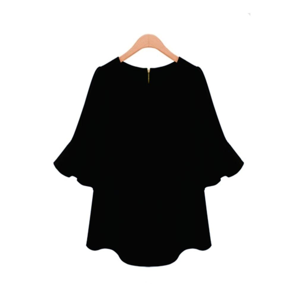 Free Shipping European and American women's new summer chiffon shirt sleeve loose candy color rendering shirt sleeve shirt(China (Mainland))