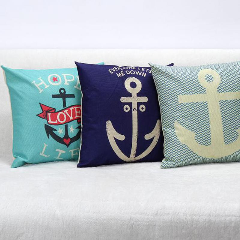 Decorative Pillows To The Trade : Foreign Trade Sales Anchor Series Linen Home Cushions Decorative Throw Pillows Car Decor Cushion ...