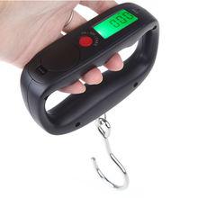 Nuevo 50 kg / 10 g LCD Digital Fish Hanging peso del equipaje escala Hook electrónica negro
