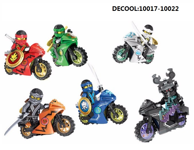 DECOOL Ninjagoes Minifigures Kai Jay Cole Zane Motorcycle Block Model Brick kid Toy COMPATIBLE LEGOE Action figure  -  Easter Toys Store store