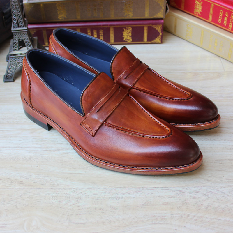 SKP141 Newest Mens 100% Genuine Leather Shoes Brown Color Big Size 37-47 Custom Made Italy Goodyear Handmade Flat Shoes<br><br>Aliexpress