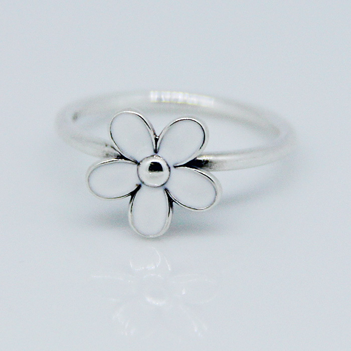 Rings Compatible with Fandola Jewelry Darling daisy, white enamel Size #6-9 New 100% 925 Sterling Silver European Women R015(China (Mainland))
