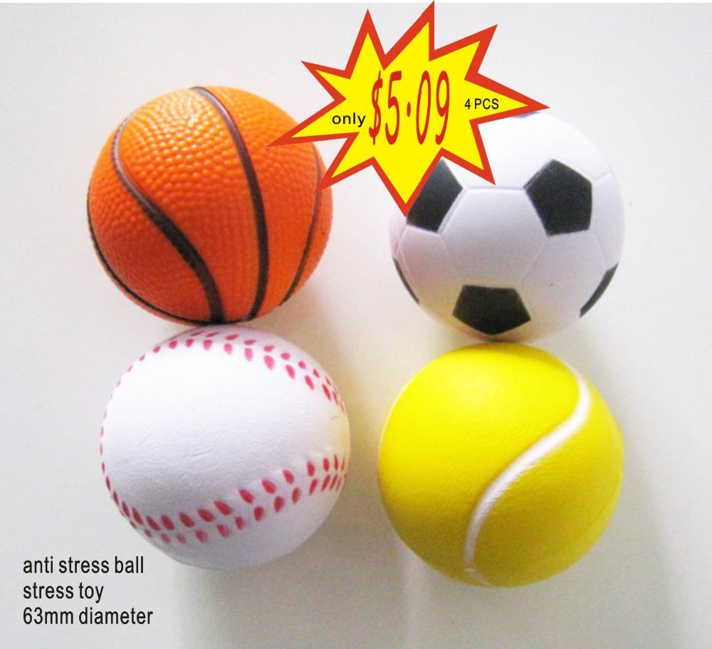 free shipping ,4pcs /lot sport pu stress ball,pu basketball,pu baseball,squeeze ball ,anti stress ball 6.3cm diameter(China (Mainland))