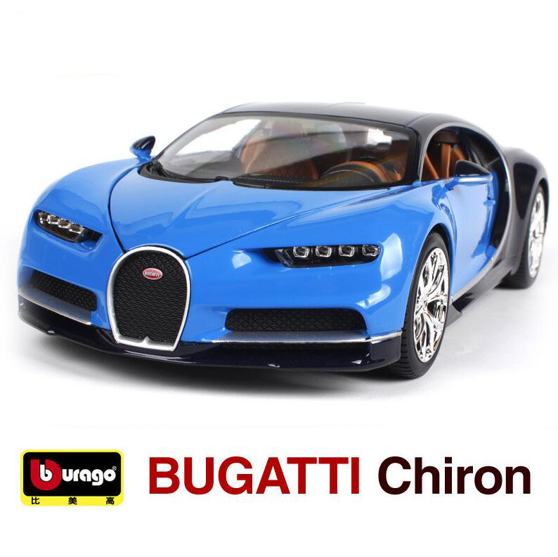 BBurago 1:18 Scale Bugatti Chiron Roadster Diecast Car Vehicle Model In Box Blue/Red Color With Open Doors Collect For Baby Toys(China (Mainland))