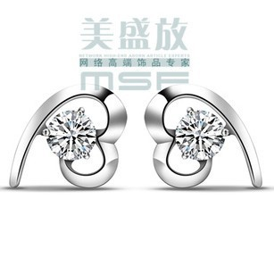 2012 new design love heart AAA zircon & 925 sterling silver platinum plated cz crystal stud earrings jewelry - Life in Color Co.,Ltd store