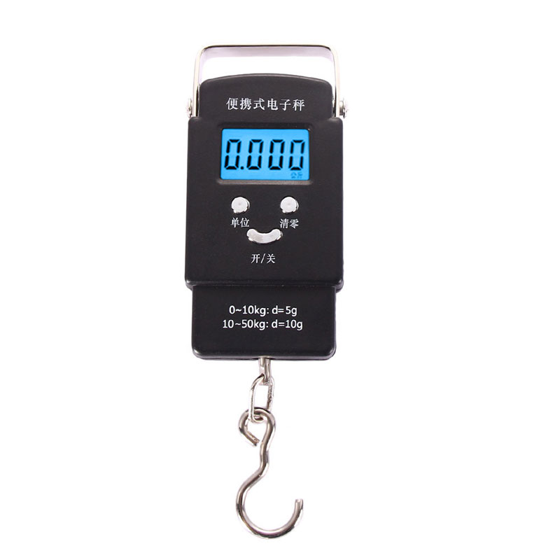 High Quality 110 lbs/50 kg 10g Balanza Digital Scale Blue Fishing Luggage Scale LCD Hook Weigh Balanca Digital Weight Scale(China (Mainland))